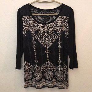 B.L.E.U. Knit top black lace white graphics small